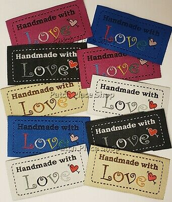 Woven 'Handmade With Love' Garment Labels 25x50mm, Pack Of 10 • 3.04£