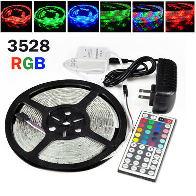 5M Waterproof 3528 RGB SMD 300 Flexible LED Strip Rope Lights 12V Power Supply • 3.89$