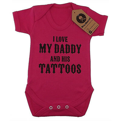 Metallimonsters My Daddys Tattoos Vest Pink Alternative Rock Metal Baby Clothes • 10.99£