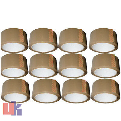 £8.57 • Buy 12,BROWN PARCEL PACKING STRONG TAPE 66m X48mm ROLLS PACKAGING SELLOTAPE SEALING.