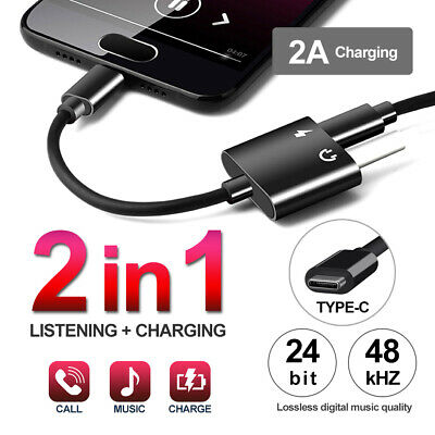AU5.99 • Buy 2in1 USB Type-C To 3.5mm Headphone Jack Adapter AUX & Sync Data Charge Cable
