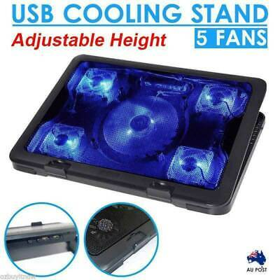 AU19.95 • Buy 5 Fans LED USB Adjustable Height Stand Pad Cooler For Laptop Notebook 7 -17