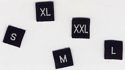 Woven Garment Size Labels Black S, M, L, XL, XXL 10mm X 10mm, Pack Of 20 • 2.93£