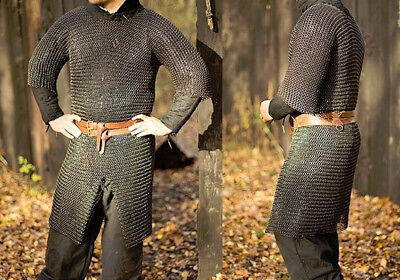 £55.24 • Buy Medieval Chainmail Shirt M Blackend Butted Chain Mail Costume Armor Size Medium