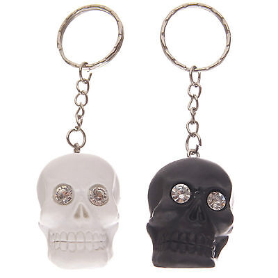 Crystal Eyed Skull Keyring Black Or White Brand New Novelty Gift Present  • 5.95£