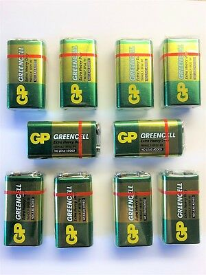 10x 9V PP3 BATTERY GP GREENCELL EXTRA HEAVY DUTY - For Low Drain Devices • 6.75£