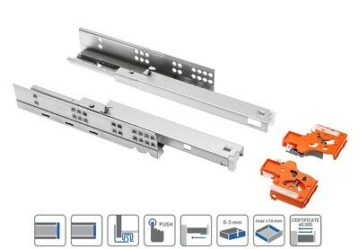 £10.25 • Buy 1 Pair X PUSH TO OPEN Cabinet Undermounting Full Extension Drawer Runners Slides