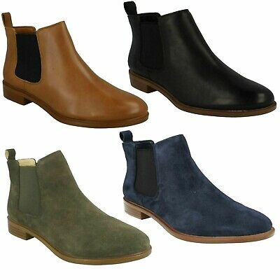 £74.99 • Buy Ladies Clarks Leather Pull On Casual Low Heel Ankle Chelsea Boots Taylor Shine