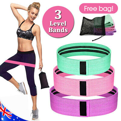 AU17.99 • Buy Resistance Booty Bands Set-3 Hip Circle Loop Bands Workout Exercise Guide & Bag