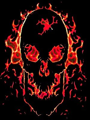 £2.69 • Buy Evil Fire And Flame Tribal Skull Design A4 Iron On Transfer 11x8 Gothic Design