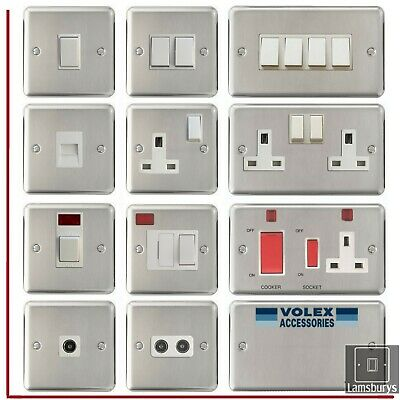 Volex Brushed Stainless Steel Light Switches And Electrical Sockets White Insert • 6.99£