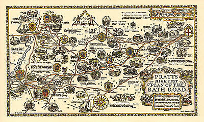 £20.99 • Buy Plan Of The Bath Road From London -Old, Vintage  Poster - Decorative Map 1930