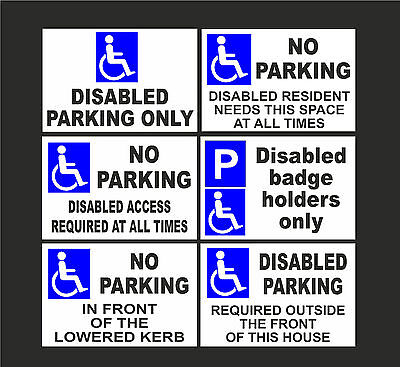 £2.99 • Buy DISABLED NO PARKING A4 Signs Or Stickers Badge Holders, Lowered Kerb, Access