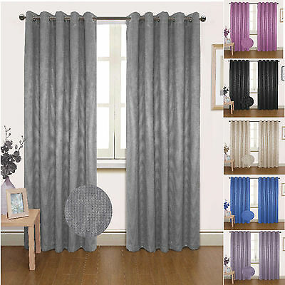 Semi Blackout Curtains Eyelet Ring Top Ready Made Thermal  Seville  Black Blue • 17.99£