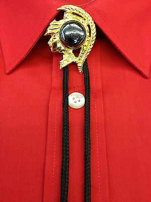 Bootlace Ties,Roman Head Brooch With Bootlace And Metal Ends.Gold / Black String • 4.49£