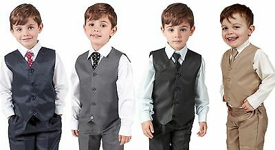 Boys Suits 4 Piece Waistcoat Suit Wedding Page Boy Baby Formal Party 4 Colours • 16.99£