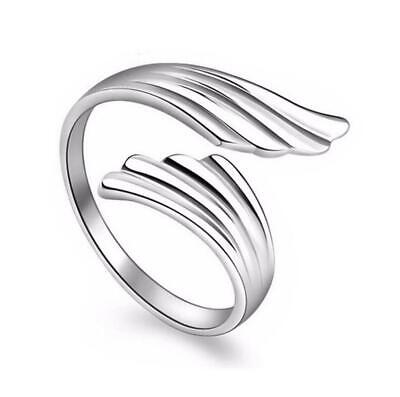 *UK Shop* SILVER PLATED ADJUSTABLE OPEN ANGEL WING FEATHER RING THUMB BIRD TOE • 3.99£