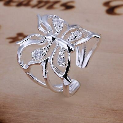 *UK Shop* SILVER PLATED ADJUSTABLE OPEN BUTTERFLY RING THUMB LADIES DRAGONFLY • 3.99£