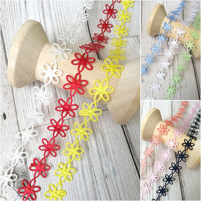 Chain Of Daisies Flowers Trim Satin Lace Ribbon CRAFTS Scrapbook Crafts Sewing • 1.70£
