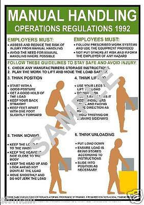£3.99 • Buy Manual Handling Health And Safety Poster Sign Choose A4 Or A3 Work Shop Factory