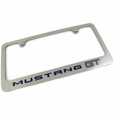 Ford Mustang GT Blue License Plate Frame Number Tag Engraved Chrome Plated Brass • 29.95$