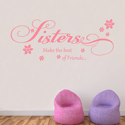 Sisters Best Friends Wall Art Quote Vinyl Transfer Kids Bedroom Decal Sticker  • 15.99£