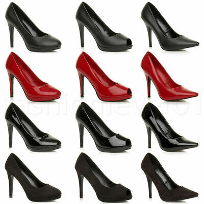 Womens Mens High Stiletto Heel Fetish Going Out Court Shoes Large Sizes 3-12 • 19.99£