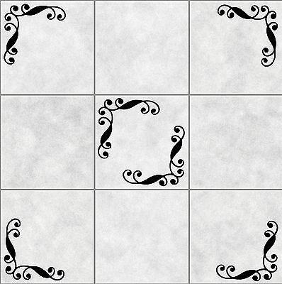 16X SWIRLS CORNER Tile Stickers BATHROOM  WALL ART  DECOR DECAL KITCHEN Toilet • 3.99£