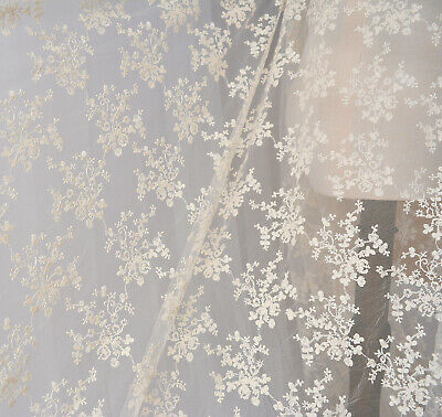 £4.99 • Buy Bridal Dress Costume Lace Tulle Cream Floral Embroidery Wedding Gown Fabric 0.5Y