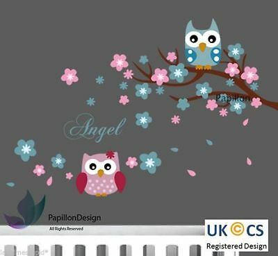 Angel Words Cherry Tree Flower Owls Nursery Kid Baby Girl Boy Wall Decal Sticker • 8.99£