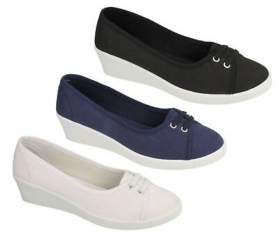 Ladies Canvas Black Navy White Pumps  Slip On Mid Wedge Heel Casual Shoes F9721 • 7.99£