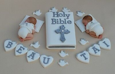 Edible Twin Baby Christening / Baptism Cake Topper Bible Cake Decoration Topper • 32.95£