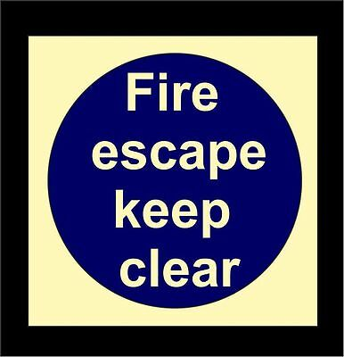 FIRE ESCAPE KEEP CLEAR Photoluminescent Door Sign -  Safety Glow In The Dark • 0.99£