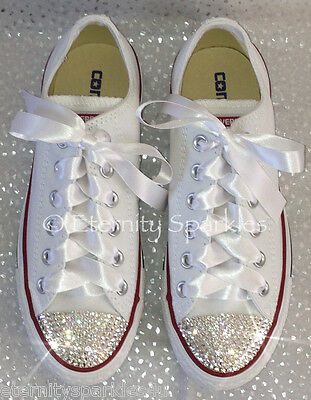 Customised White Crystal Bling Converse All Star Lo Made With SWAROVSKI ELEMENTS • 71.99£