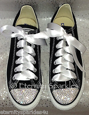 Customised Black Crystal Bling Converse All Star Lo Made With SWAROVSKI ELEMENTS • 65.99£