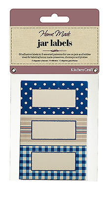Kitchen Craft JAR LABELS Stitched Stripes Self Adhesive Jam Jar Pot GIFT Tag  • 3.45£