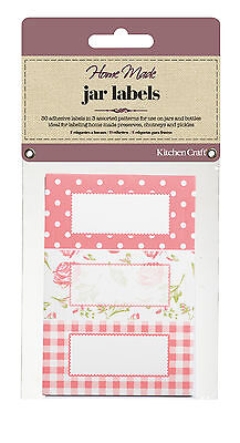 Kitchen Craft JAR LABELS Pink Check + ROSE Self Adhesive Jam Jar Pot GIFT Tag  • 3.45£