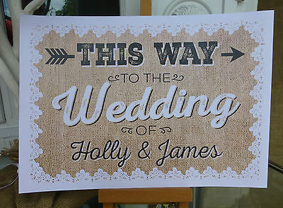 £5 • Buy PERSONALISED Hessian & Lace Style THIS WAY TO WEDDING Vintage ARROW Print Sign