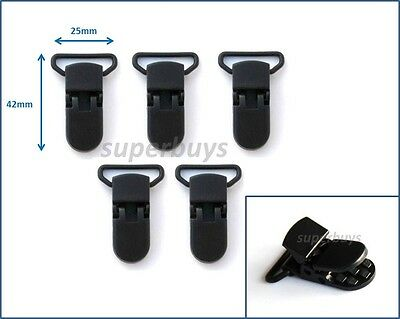 $ CDN9.67 • Buy 1 5 20 Black Plastic Suspender Bib Pacifier Dummy Teething Clips Buckle Nuki KAM