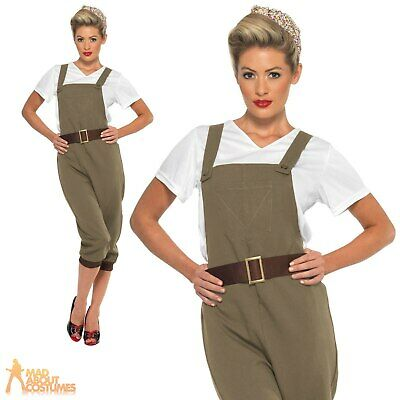 1940's Land Girl Costume Ladies WW2 Munitions Fancy Dress Army Outfit Womens • 17.99£