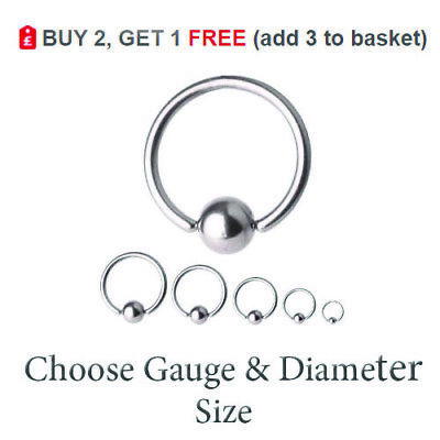 Ball Closure Ring BCR Captive Bead Hoop Steel Nose Eyebrow Septum Lip 6mm -16mm  • 1.59£