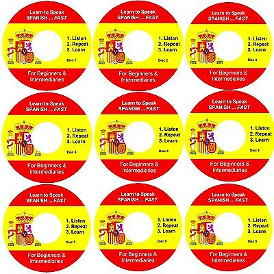 Learn SPANISH Fast ...Listen, Repeat And Learn 9 Audio CD Set - Simple & Fast - • 5.98£