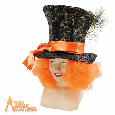 £8.95 • Buy Mad Hatter Top Hat With Hair Alice Fairytale Tea Party Costume Mens Accessory