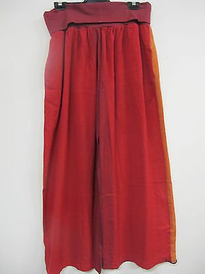 AU39 • Buy  Wide Red Cotton Pants Stretch Yoga Waistband With Ties Festival Gypsy M/L