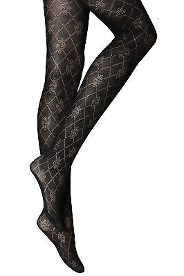 New Womens Ladies Black Patterned Tights Plus Size Xl 18-20 R21n • 3.99£