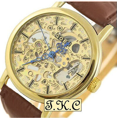 £32.99 • Buy Gold Pl Heirloom Mechanical Windup Skeleton Steampunk Brown Leather Unisex Watch