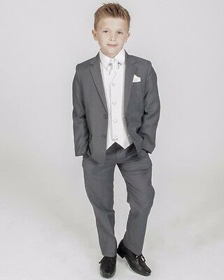 £29.99 • Buy Boys Suits Boys Grey Ivory Waistcoat Suit Wedding PageBoy Formal Party 5pc Suit