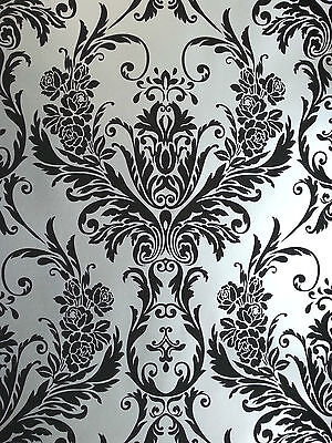 Luxury Black & Silver Metallic Medina Damask Feature Wallpaper 4002 • 8.99£