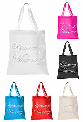 Crystal Yummy Mummy Baby Shower Tote Bags Personalised  Favour Party Gift Bags • 5.99£