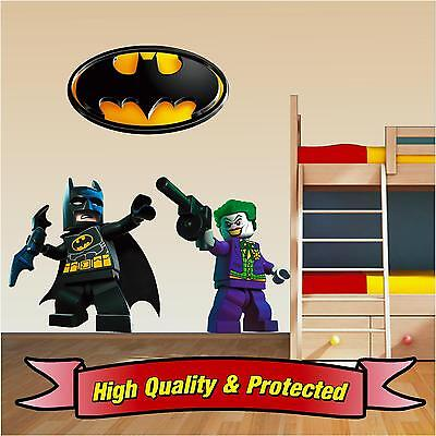 Lego Batman Set - Joker & Badge Vinyl Wall Stickers Decal Childrens Bedroom Boys • 5.99£